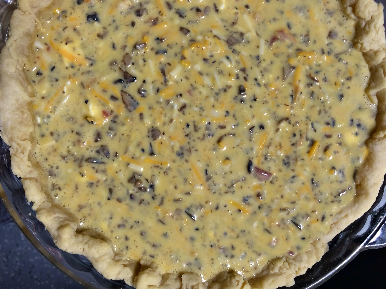 filled uncooked quiche