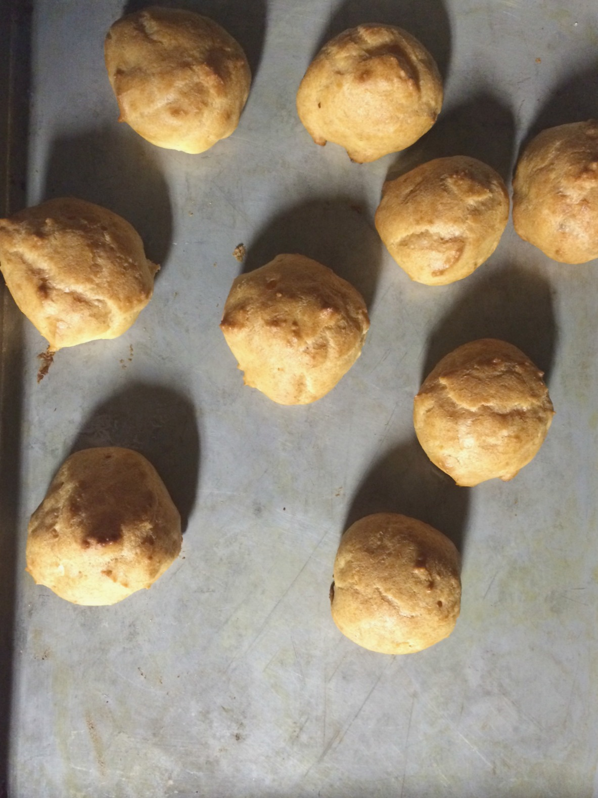 cream puff shells cooked